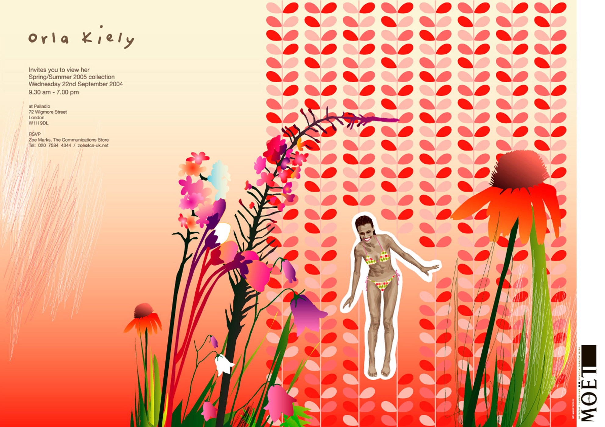 Orla Kiely, invitation, graphic design, illustration, branding