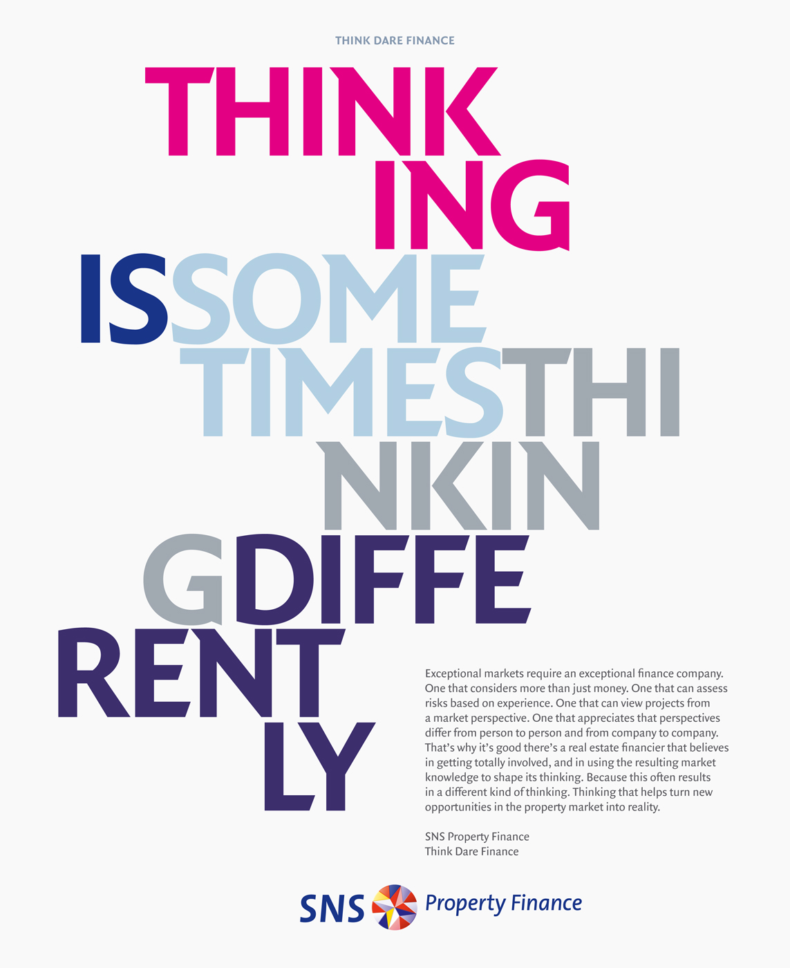 SNS Property Finance, identity, graphic design, typography, corporate brochure, rebranding
