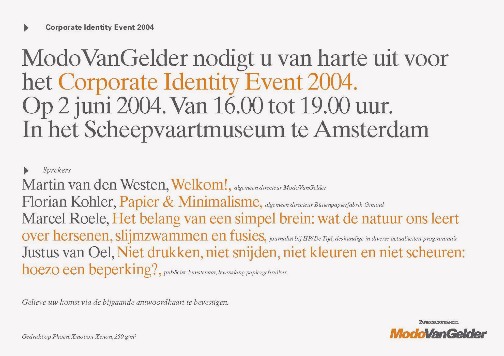ModoVanGelder, De kracht van Kleur, paper, invitation event, graphic design